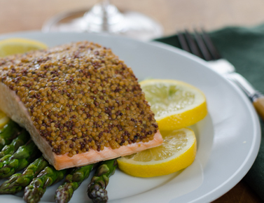 Mustard-Crusted Salmon and Roasted Asparagus image